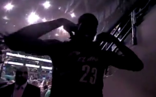 LeBron James removes his Cavaliers jersey for the final time following the Celtics victory over the Cavs in Game 6 of the 2010 Second Round of the NBA Playoffs (via celticslife.com)