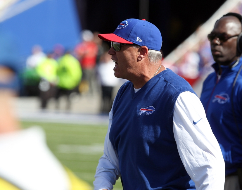 Sep 20, 2015; Orchard Park, NY, USA; Buffalo Bills head coach Rex Ryan yells to his players on the field during the second half against the New England Patriots at Ralph Wilson Stadium. Patriots defeat the Bills 40 to 32. Mandatory Credit: Timothy T. Ludwig-USA TODAY Sports