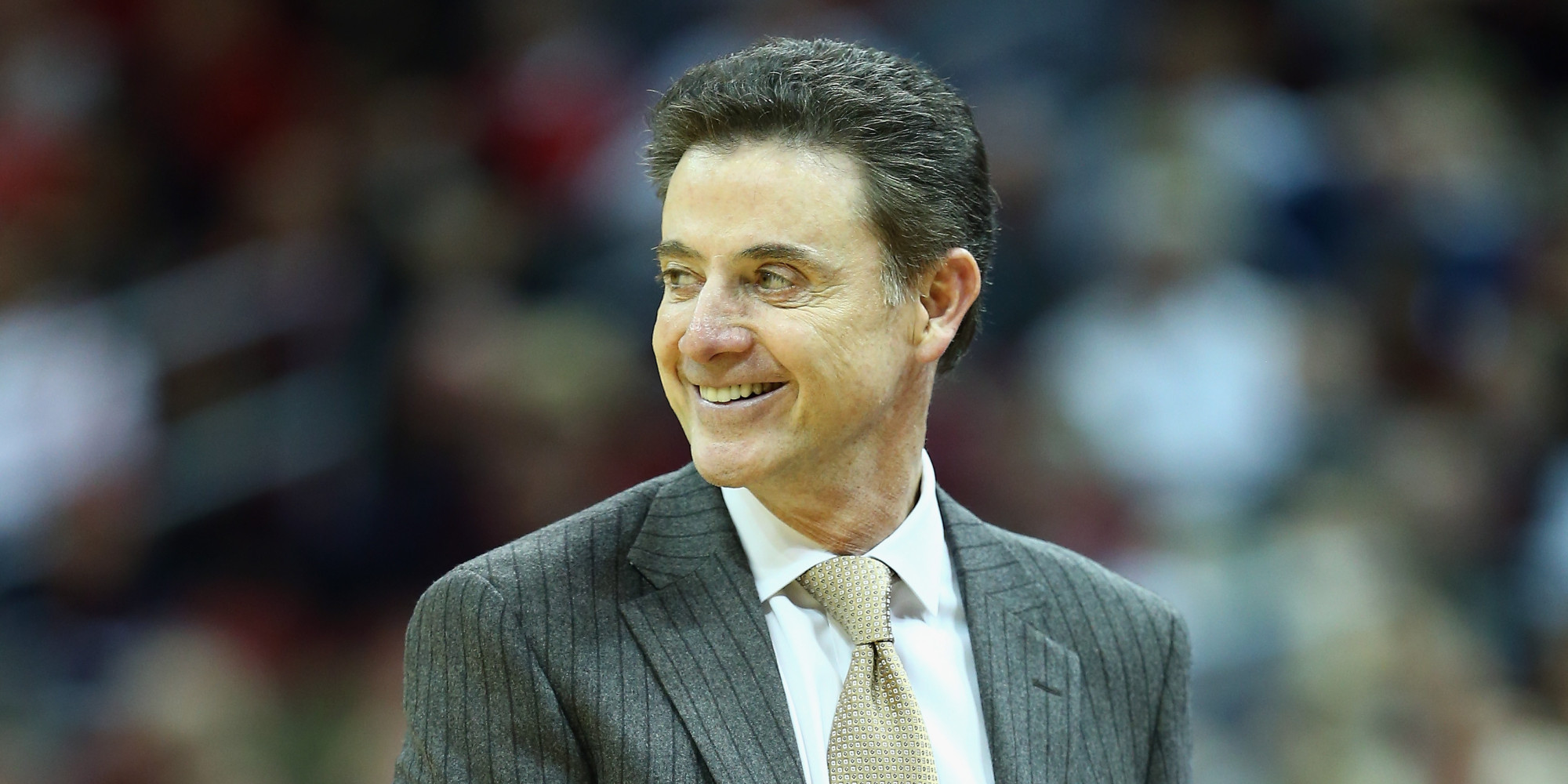 LOUISVILLE, KY - NOVEMBER 29: Rick Pitino the head coach of the Louisville Cardinals givees instructions to his team during the game against the Southern Mississippi Golden Eagles at KFC YUM! Center on November 29, 2013 in Louisville, Kentucky. (Photo by Andy Lyons/Getty Images)