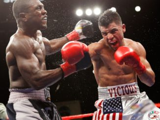 Ortiz lands punch in his first fight against Andre Berto.