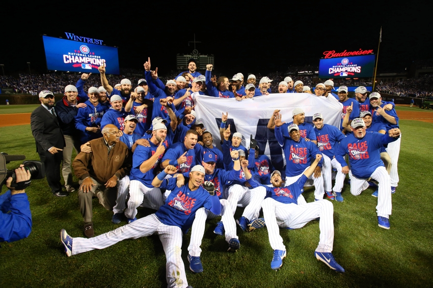 Oct 22, 2016; Chicago, IL, USA; The Chicago Cubs celebrate defeating the Los Angeles Dodgers in game six of the 2016 NLCS playoff baseball series at Wrigley Field. Cubs win 5-0 to advance to the World Series. Mandatory Credit: Jerry Lai-USA TODAY Sports